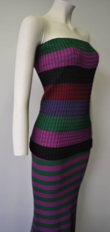 Rare Gianni Versace Couture Striped Knit Strapless Ensemble 3