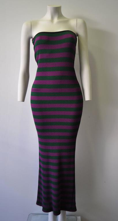 Rare Gianni Versace Couture Striped Knit Strapless Ensemble 4