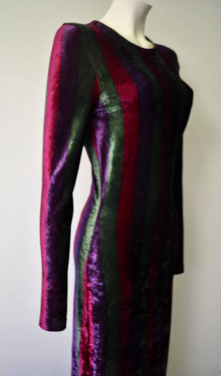 Black Iconic Gianni Versace Couture Striped Stretch Velvet Maxi Dress For Sale
