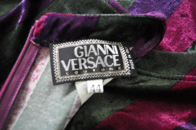 Iconic Gianni Versace Couture Striped Stretch Velvet Maxi Dress In New Never_worn Condition For Sale In Athens, Agia Paraskevi