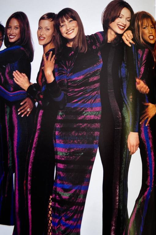 Iconic Gianni Versace Couture Striped Stretch Velvet Maxi Dress For Sale 1