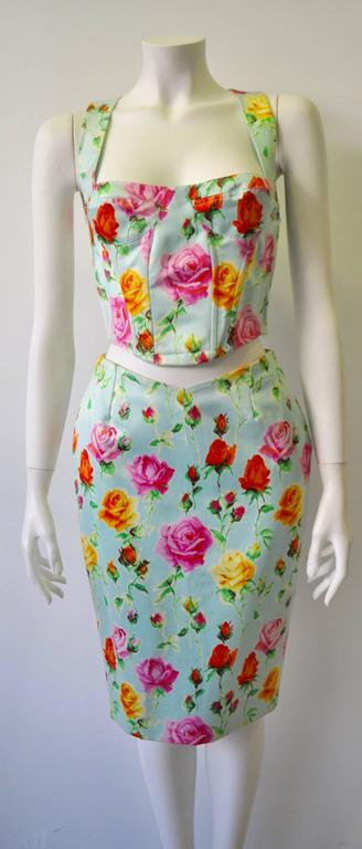 Gianni Versace Couture Floral Bustier and Pencil Skirt Ensemble 2