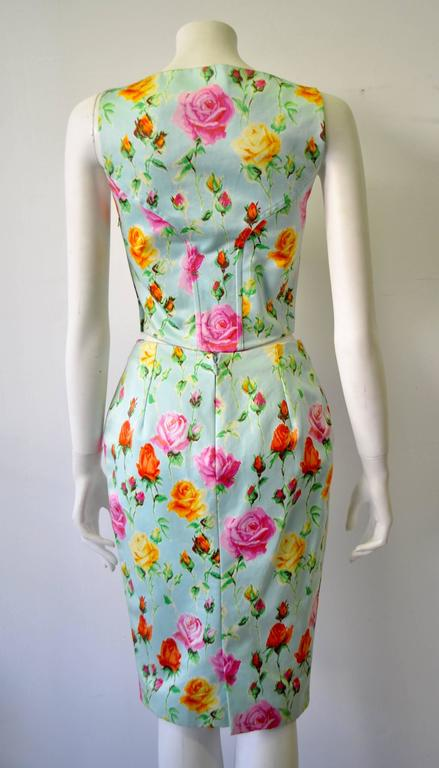 Gianni Versace Couture Floral Bustier and Pencil Skirt Ensemble 3