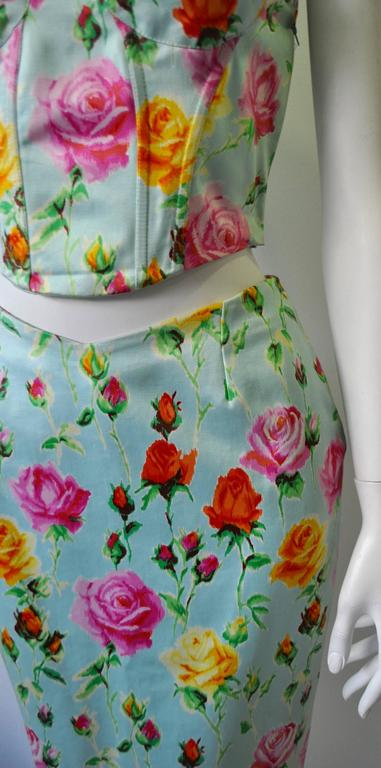 Gianni Versace Couture Floral Bustier and Pencil Skirt Ensemble 4