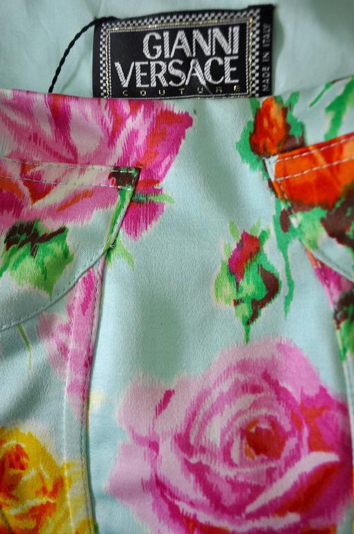 Gianni Versace Couture Floral Bustier and Pencil Skirt Ensemble 7