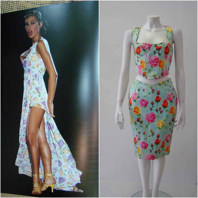 Gianni Versace Couture Floral Bustier and Pencil Skirt Ensemble 6