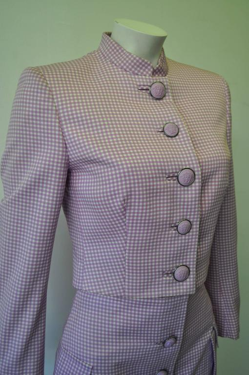 Exceptional Gianni Versace Couture Check Skirt Suit featuring Medusa Buttons 3