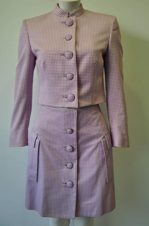 Exceptional Gianni Versace Couture Check Skirt Suit featuring Medusa Buttons 2