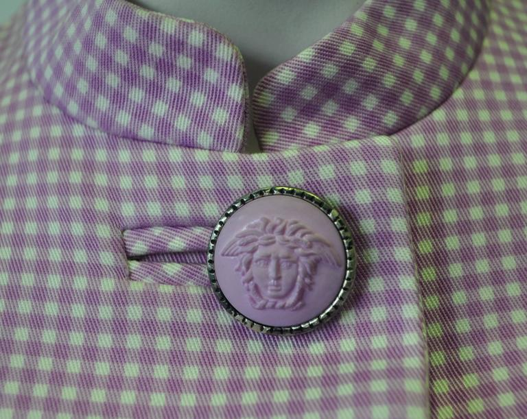 Exceptional Gianni Versace Couture Check Skirt Suit featuring Medusa Buttons 4