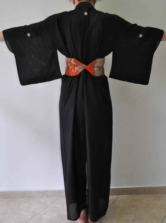 Black Authentic Hand Made Japanese Kimono from Tokyo For Sale