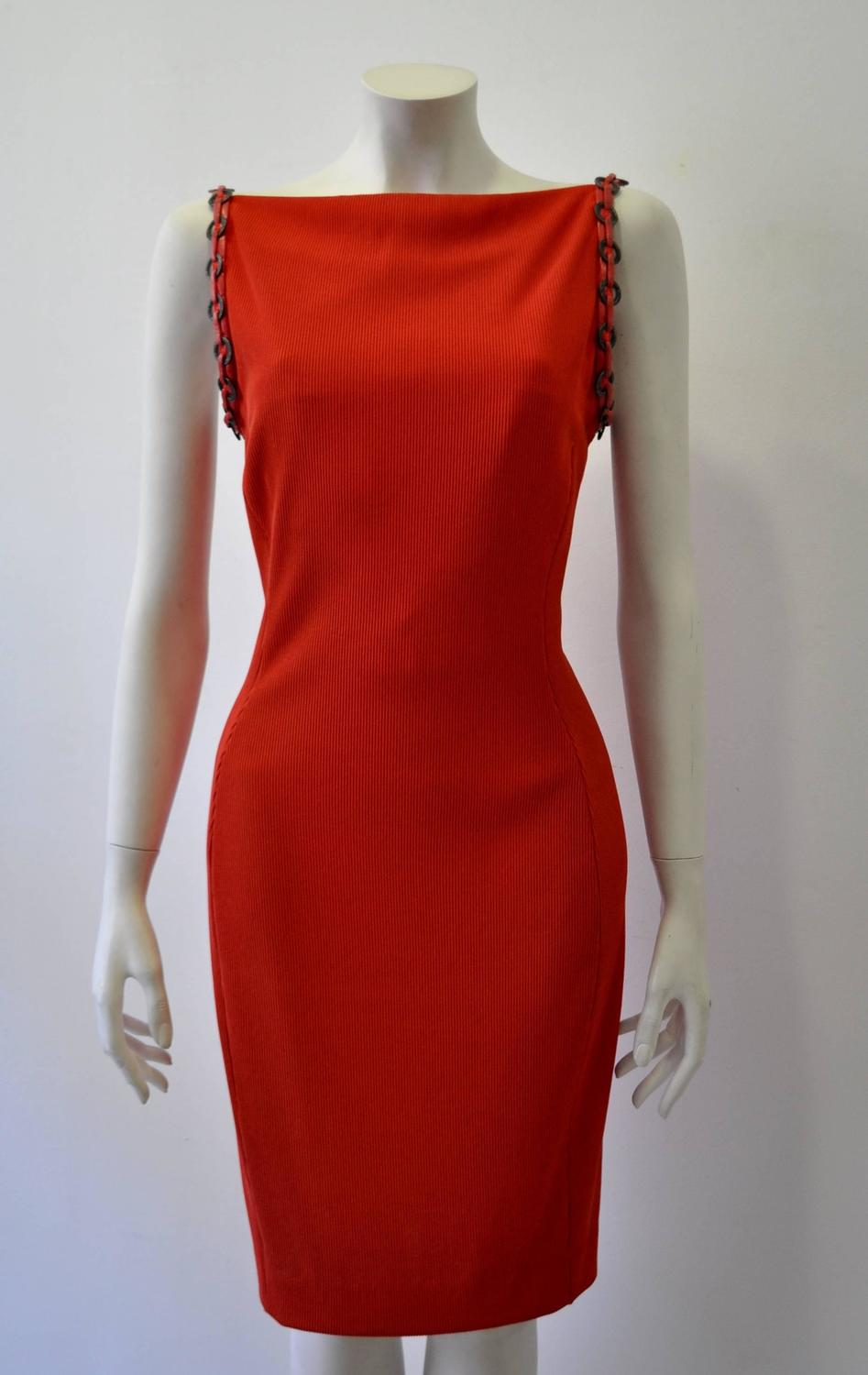 Iconic Gianni Versace Couture Red Siren Bodycon Dress For