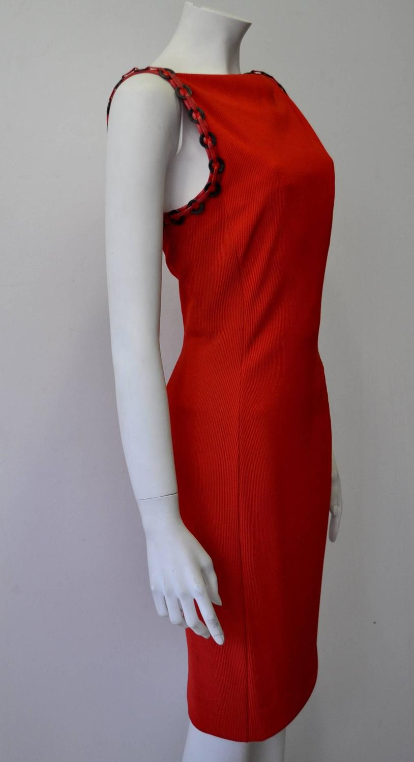 Vintage Watches For Sale >> Iconic Gianni Versace Couture Red Siren Bodycon Dress For Sale at 1stdibs