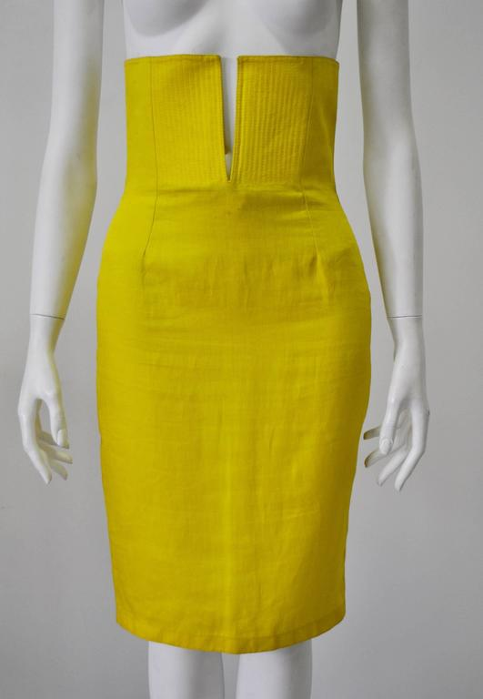 Exceptional Gianni Versace Haute Yellow Split High Waisted 100% Linen Skirt