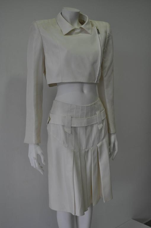 Very Rare Claude Montana Zip Space Age Inspired Bare Midriff Skirt Suit