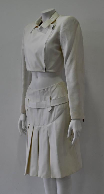 Gray Very Rare Claude Montana Zip Space Age Inspired Skirt Suit For Sale
