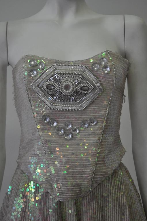 Ella Singh Intricate Bead Embroidered Iridescent Sequin Bustier 2
