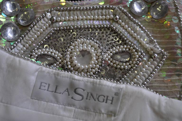 Ella Singh Intricate Bead Embroidered Iridescent Sequin Bustier 4