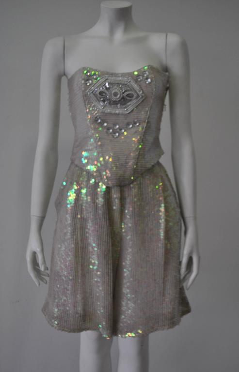 Ella Singh Intricate Bead Embroidered Iridescent Sequin Bustier 5