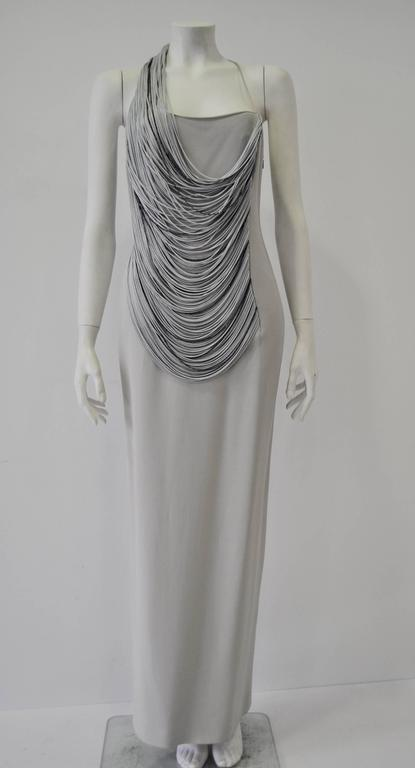 Gray Luxurious Angelo Mozzillo Multistrand Chord Maxi Dress For Sale
