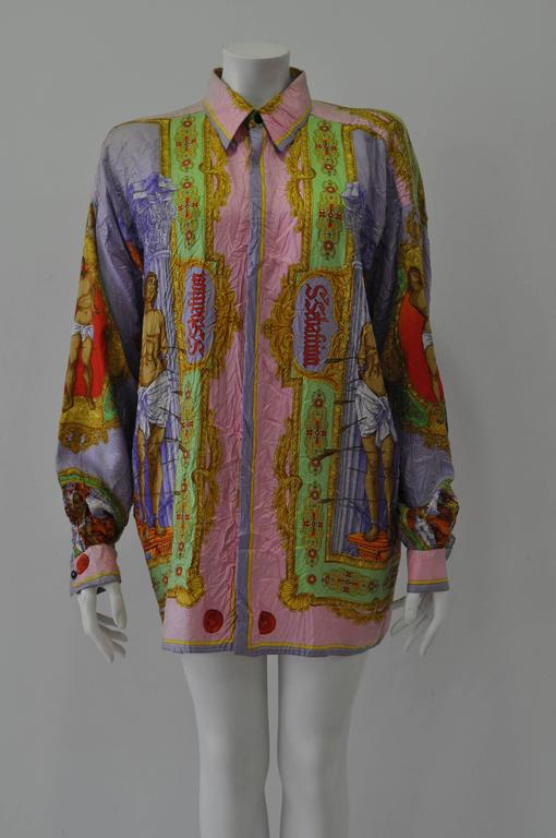 "Highly Sought After Gianni Versace ""Saint Sebastian"" Print Wrinkled Silk Shirt Notorious Punk Collection, Spring 1994"