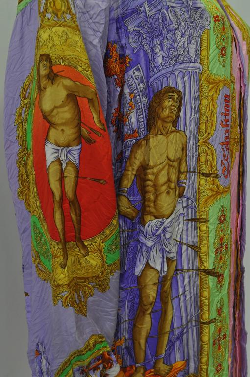 "Sought After Gianni Versace ""Saint Sebastian"" Punk Wrinkled Silk Shirt For Sale 2"