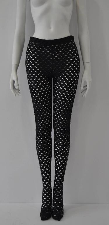 Black Iconic Gianni Versace Couture Punk Cut-Out Leggings For Sale
