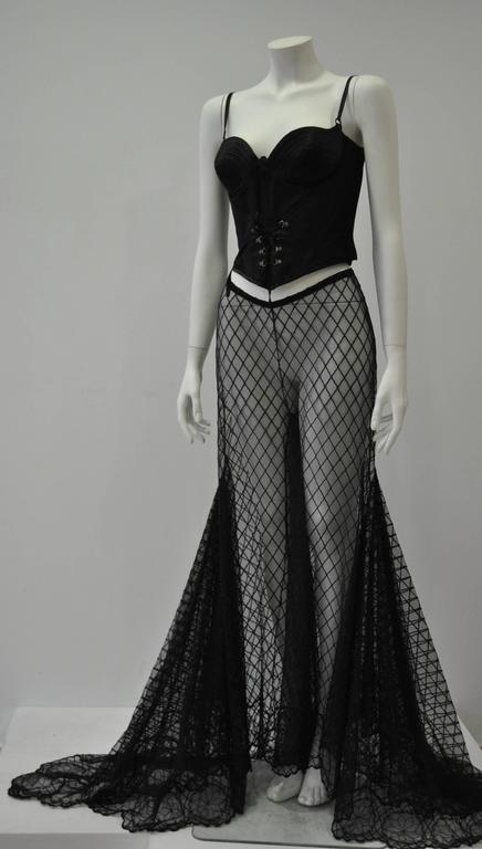 Dramatic Gianni Versace Couture Sheer Silk Tulle Lace Maxi Palazzo Pants 2