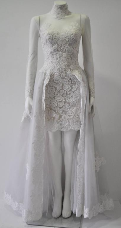 Rare and Important Pino Lancetti High Low Hand Embroidered Wedding Dress 2