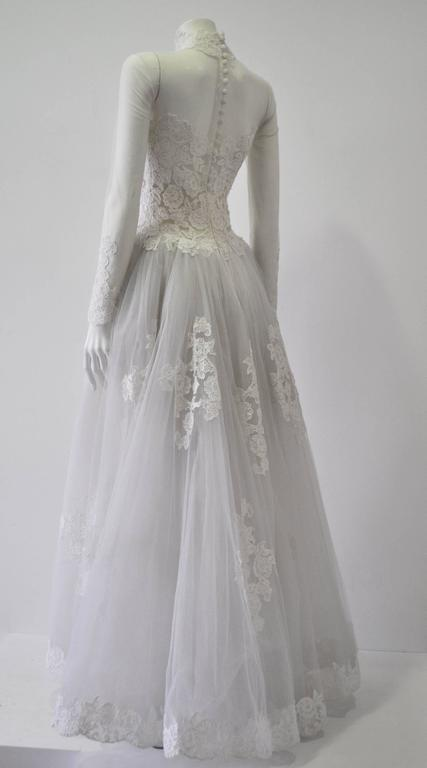 Rare and Important Pino Lancetti High Low Hand Embroidered Wedding Dress 3
