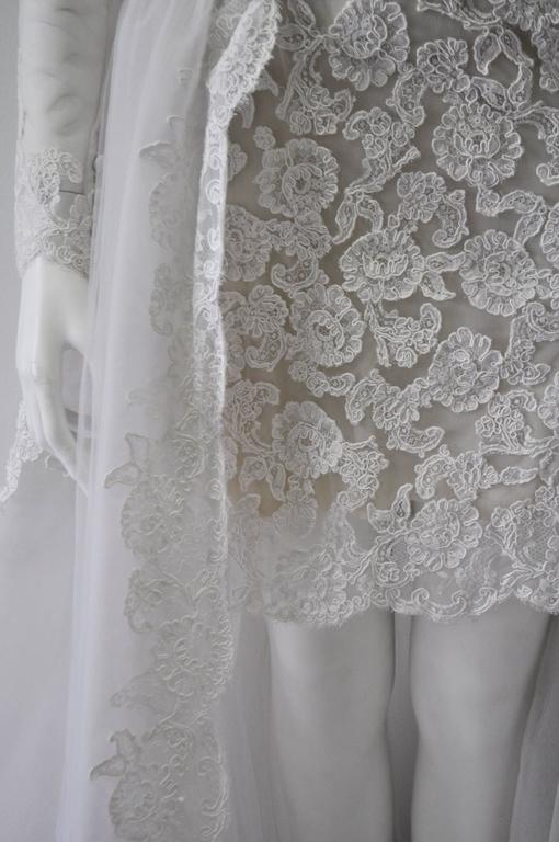 Rare and Important Pino Lancetti High Low Hand Embroidered Wedding Dress 5
