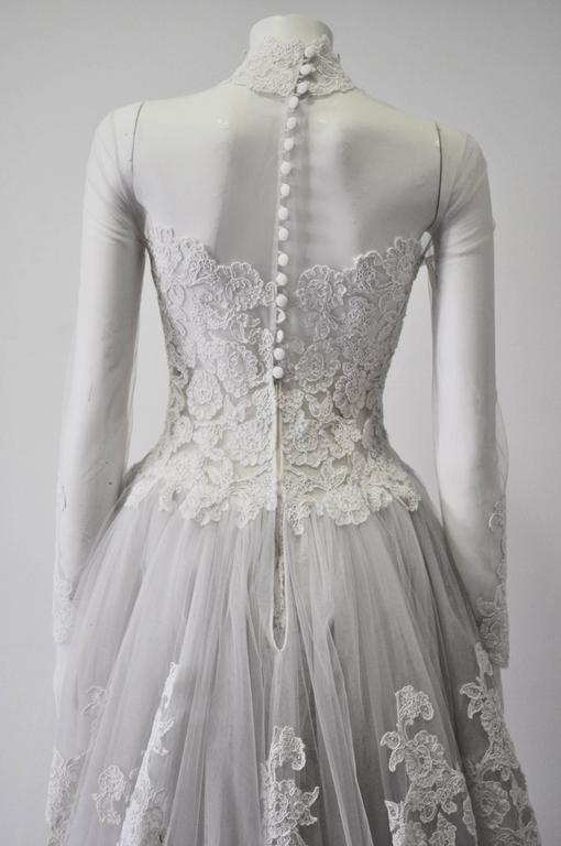 Rare and Important Pino Lancetti High Low Hand Embroidered Wedding Dress 6