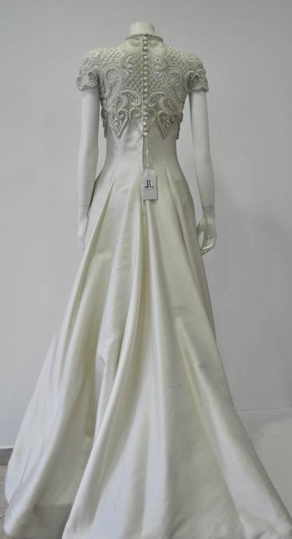 Women's Important Pino Lancetti Hand Embroidered Duchess Satin Wedding Gown For Sale