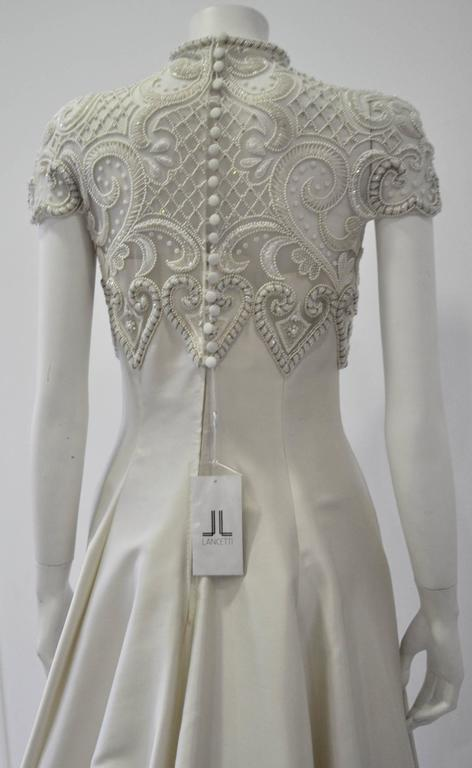 Important Pino Lancetti Hand Embroidered Duchess Satin Wedding Gown For Sale 2