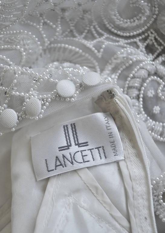 Important Pino Lancetti Hand Embroidered Duchess Satin Wedding Gown For Sale 3