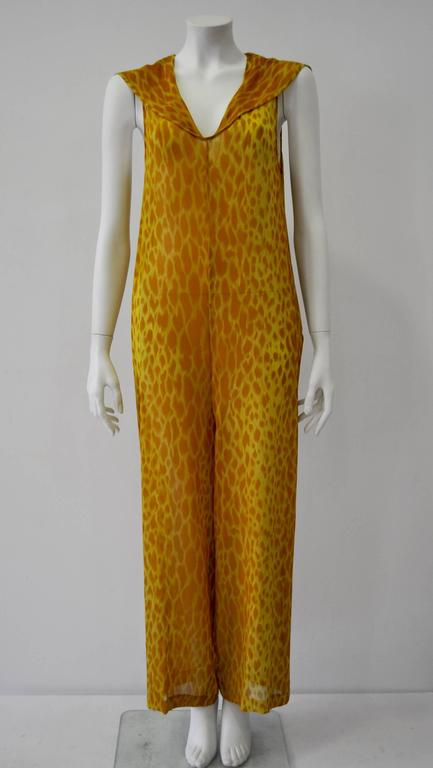 Gianni Versace Couture Sheer Giraffe Print Silk Jumpsuit 2