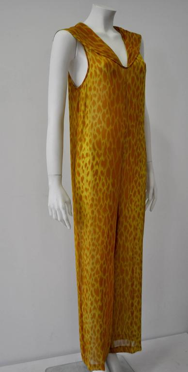 Gianni Versace Couture Sheer Giraffe Print Silk Jumpsuit 4