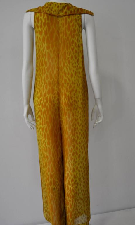 Gianni Versace Couture Sheer Giraffe Print Silk Jumpsuit 5