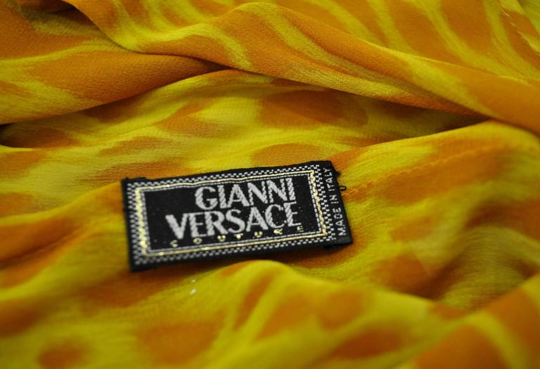 Gianni Versace Couture Sheer Giraffe Print Silk Jumpsuit 6
