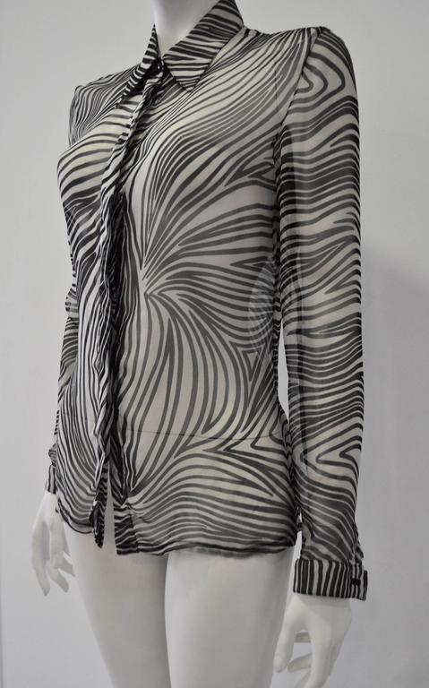Gianni Versace Sheer Silk Zebra Print Shirt In New Never_worn Condition For Sale In Athens, Agia Paraskevi
