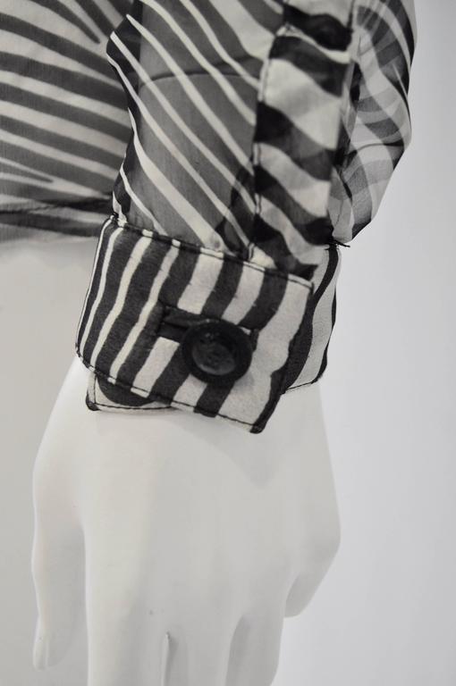 Gianni Versace Sheer Silk Zebra Print Shirt 4