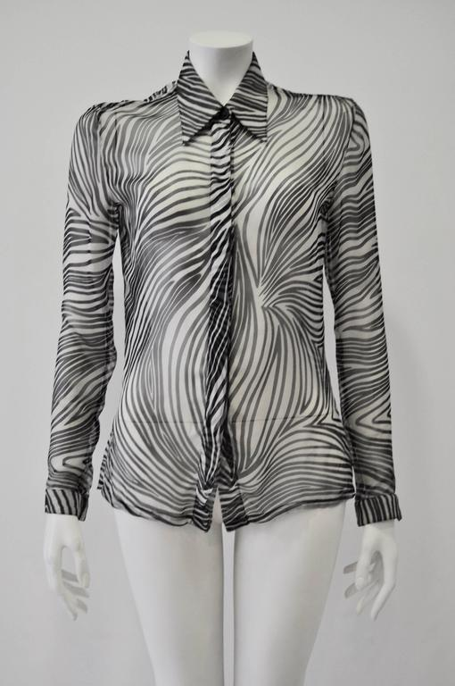 Gray Gianni Versace Sheer Silk Zebra Print Shirt For Sale
