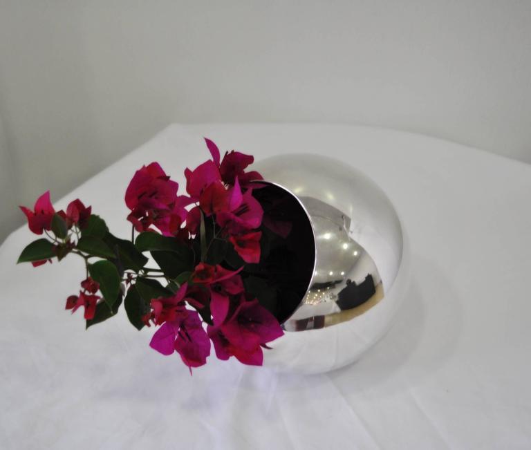 Important Lino Sabattini Silverware Spherical Flower Vase 2