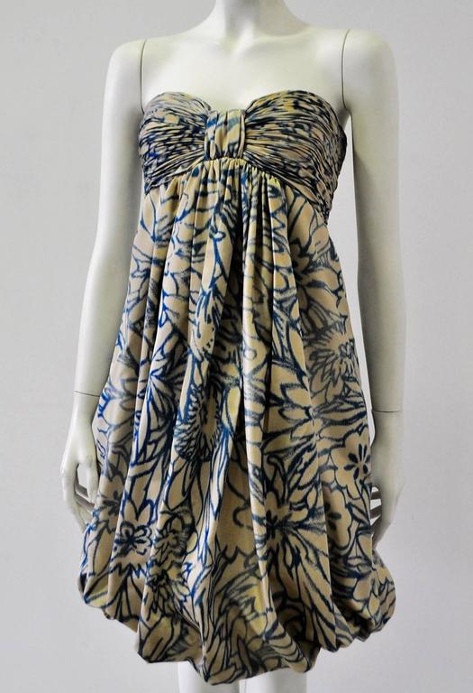 Unique Oscar de la Renta Strapless Floral Print Bubble Skirt Dress 2