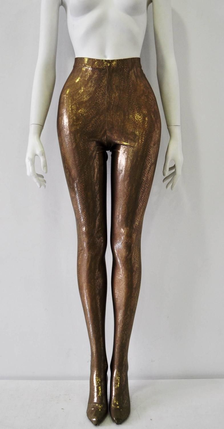 exceptional atelier versace gold snake spandex leggings for sale at 1stdibs