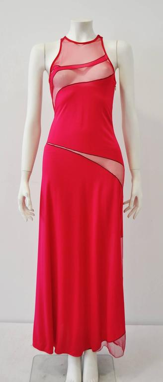 Gianni Versace Couture Cut-Out Sheer Fluorescent Raspberry Evening Gown 2