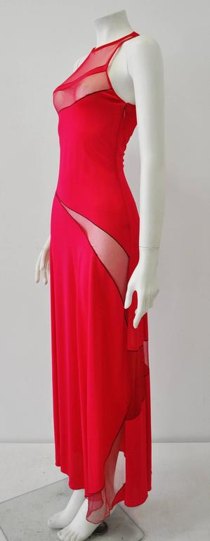 Gianni Versace Couture Cut-Out Sheer Fluorescent Raspberry Evening Gown 4