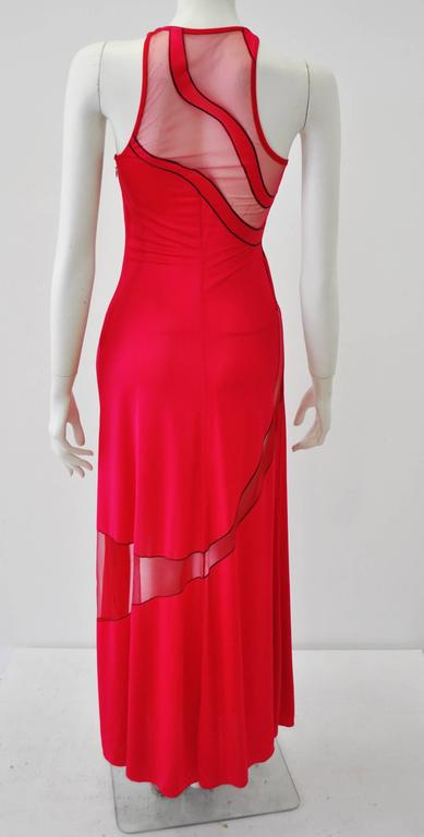 Gianni Versace Couture Cut-Out Sheer Fluorescent Raspberry Evening Gown 6