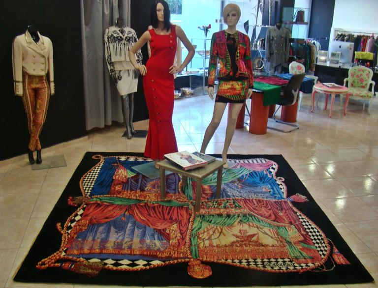 """Exceptionally Rare Ltd. Edition Atelier Versace Hand Knotted """"Teatro"""" Wool Rug 9"""