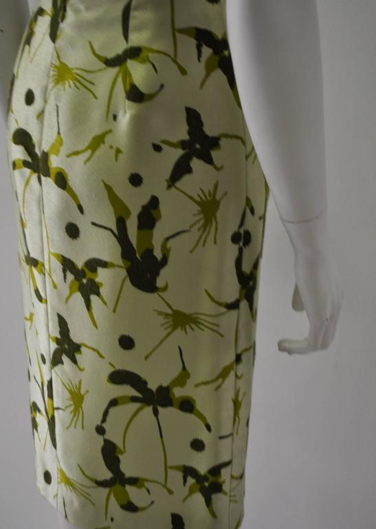 Elegant and Unique Gianni Versace Couture Frond Print Silk Pencil Skirt 6