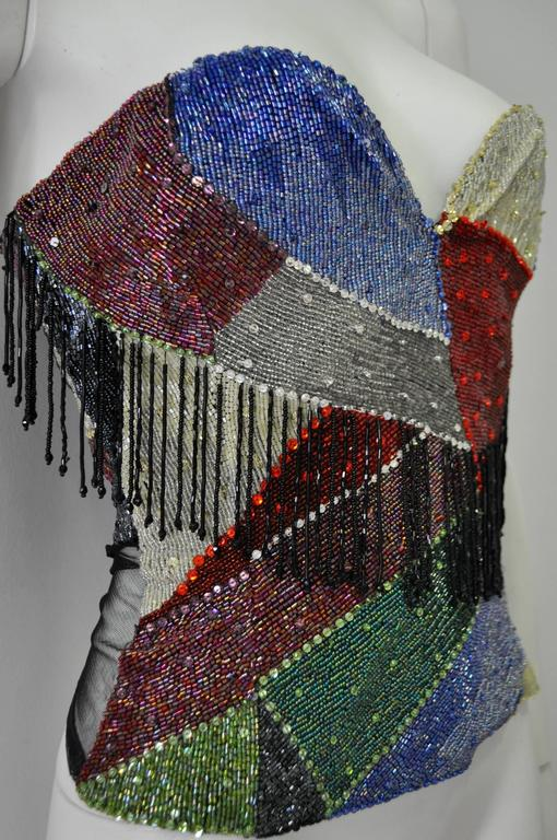 Museum Quality Atelier Versace Beaded Fringed Silk Bustier 3